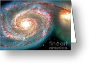 Actual Greeting Cards - Heavenly Body  Whirlpool Galaxy Greeting Card by Merton Allen