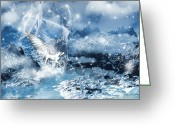 Black Wings Greeting Cards - Heavenly Interlude Greeting Card by Lourry Legarde