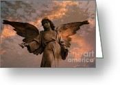 Guardian Angel Greeting Cards - Heavenly Spiritual Angel Wings Sunset Sky  Greeting Card by Kathy Fornal