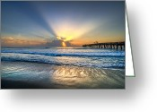 Tropical Sunset Greeting Cards - Heavens Door Greeting Card by Debra and Dave Vanderlaan