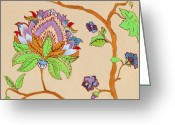 Ethnic Painting Greeting Cards - Heavens Flower Greeting Card by Enzie Shahmiri