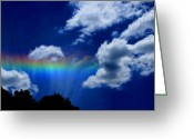 Linda-sannuti Art Greeting Cards - Heavens rainbow Greeting Card by Linda Sannuti