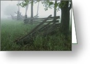 Wood Fences Greeting Cards - Heavy Fog Hangs Over Split Rail Fences Greeting Card by Stephen St. John