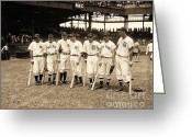 Baseball All Stars Greeting Cards - Heavy Hitters Greeting Card by Pg Reproductions