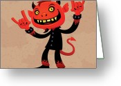 Horn Greeting Cards - Heavy Metal Devil Greeting Card by John Schwegel