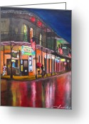 Scene Mixed Media Greeting Cards - Heavy Rain On Bourbon St - New Orleans Greeting Card by Dan Haraga