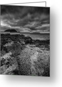 Black Point Greeting Cards - Heavy Sky in Monochrome Greeting Card by Andy Astbury
