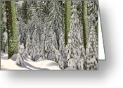 Shadows Greeting Cards - Heavy snow Greeting Card by Garry Gay