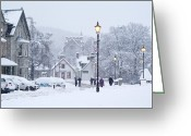 Villagers Greeting Cards - Heavy Snowfall, Braemar, Scotland Greeting Card by Duncan Shaw