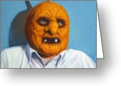 Orange Greeting Cards - Heavy Vegetable-head Greeting Card by James W Johnson