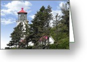 Iconic Lamp Design Greeting Cards - Heceta Head Lighthouse - Oregons iconic Pacific Coast Light Greeting Card by Christine Till