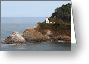 Iconic Lamp Design Greeting Cards - Heceta Head Lighthouse - Oregons Scenic Pacific Coast Viewpoint Greeting Card by Christine Till