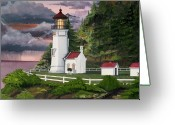 Storm Prints Mixed Media Greeting Cards - Heceta Head Lighthouse Greeting Card by James Lyman