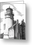 Landmarks Drawings Greeting Cards - Heceta Head Lighthouse Greeting Card by Lawrence Tripoli