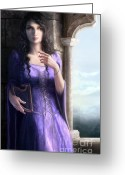 Gothic Arch Greeting Cards - Hechicera Greeting Card by Sonia Verdu