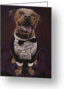 Tuxedo Greeting Cards - Hector the Inspector Greeting Card by Clara Yori