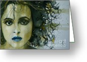 Carter Greeting Cards - Helena bonham Carter Greeting Card by Paul Lovering