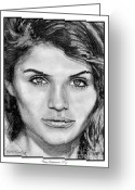 Photographer Drawings Greeting Cards - Helena Christensen in 1992 Greeting Card by J McCombie