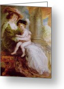 Rubens Painting Greeting Cards - Helene Fourment and her son Frans Greeting Card by Rubens