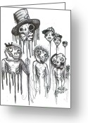 Outsider Art Drawings Greeting Cards - Helium Hats Greeting Card by Robert Wolverton Jr