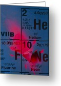 Periodic Greeting Cards - Helium-neon Elements As Laser On Periodic Table Greeting Card by David Nunuk