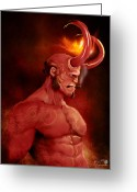 Smoking Book Greeting Cards - Hellboy Greeting Card by Jason Longstreet