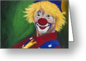 Clowns Portrait Greeting Cards - Hello Clown Greeting Card by Patty Vicknair