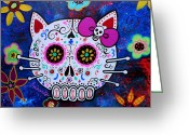Cartera Greeting Cards - Hello Kitty Day Of The Dead Greeting Card by Pristine Cartera Turkus