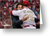 Cardinals World Series Greeting Cards - Hello Old Friend Greeting Card by Barbara Plattenburg