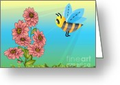 Cartoons Greeting Cards - Hellooooo Girls Greeting Card by Cheryl Young