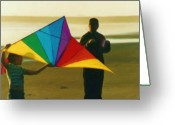 Kites Greeting Cards - Help me Fly Greeting Card by Shelley Bain