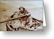 Ocean Pyrography Greeting Cards - Helping Hands Greeting Card by Jo Schwartz
