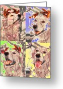 Yellow Dog Digital Art Greeting Cards - Helping Out Greeting Card by Lou  Novick
