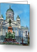 Sketchbook Greeting Cards - Helsinki Finland Greeting Card by Irina Sztukowski