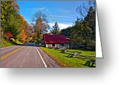 Split-rail Fence Greeting Cards - Helvetia WV painted Greeting Card by Steve Harrington