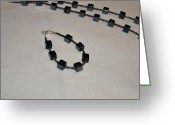Room Jewelry Greeting Cards - Hematite Cube Bracelet and Necklace Set Greeting Card by Amanda Heavlow