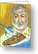 Caribbean Art Pastels Greeting Cards - Hemingway and the Pilar Greeting Card by William Depaula