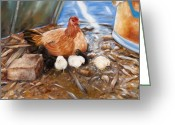 Chic Greeting Cards - Hen and Biddies Greeting Card by Rick McKinney