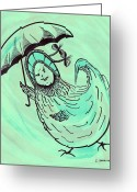 Children Stories Drawings Greeting Cards - Henny Penny Takes a Walk Greeting Card by Carol Shoemaker