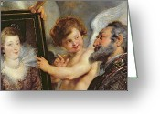 Peter French Greeting Cards - Henri IV Receiving the Portrait of Marie de Medici Greeting Card by Rubens