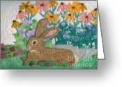 Rabbit Tapestries - Textiles Greeting Cards - Henry Greeting Card by Denise Hoag