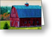 Landing Painting Greeting Cards - Henry Strong Barn circa 1928 Greeting Card by Stacey Neumiller