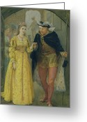 Viii Greeting Cards - Henry VIII and Anne Boleyn  Greeting Card by Arthur Hopkins