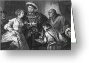 Viii Greeting Cards - Henry Viii And Anne Boleyn Greeting Card by Granger