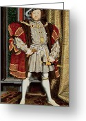 Great Painting Greeting Cards - Henry VIII Greeting Card by Hans Holbein the Younger