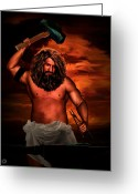 Norse Greeting Cards - Hephaestus Greeting Card by Lourry Legarde