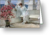 Daydream Greeting Cards - Her eyes are with her thoughts and they are far away Greeting Card by Sir Lawrence Alma-Tadema