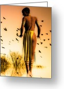 African Greeting Cards - Her Morning Walk Greeting Card by Bob Orsillo