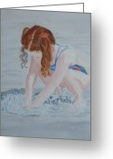 Swimsuits Greeting Cards - Her Own Little Fountain Greeting Card by Jenny Armitage