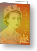 Royalty Digital Art Greeting Cards - Her Royal Highness Queen Elizabeth II Greeting Card by Heidi Hermes